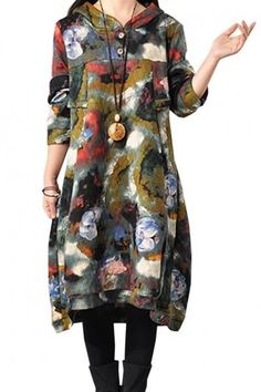 Vintage Floral Printed Buttoned Hooded Cotton-Padded Midi Dress