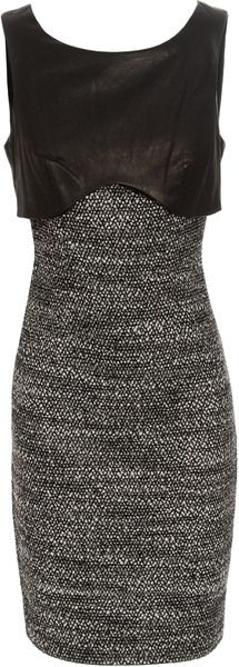 Leather Layered Tweed Dress