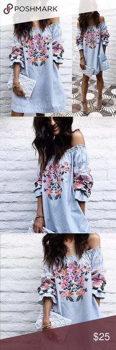 NWT-Boho Chic Embroidered Off Shoulder Dress, S-XL Cotton blend light blue boho chic top with beautiful embroidery on chest and sleeves! Please refer to size chart. And please allow 3-4 days of handling. Dresses Strapless