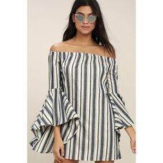 Along the Tides Navy Blue Striped Off-the-Shoulder Dress ($48) ❤ liked on Polyvore featuring dresses, blue, navy blue long dress, lulu's dresses, off the shoulder long dress, long navy dress and long cotton dresses