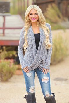 Absolute Best Seller! Soft knit long sleeve top with cowl front and open neckline. 41% Poly, 54% Rayon, 5% Spandex.Made in the USA! Tasha is 5'5, size 2, 32D
