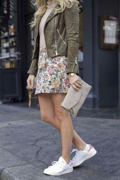 floral skirt / mockneck top / moto jacket / sneakers