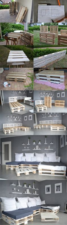DIY WITH PALLETS- SECTIONAL, BED, DRESER