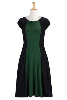Colorblock cotton knit dress from eShakti
