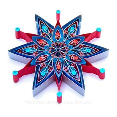 Christmas Decoration Large Persian Star Eco-friendly. Quilled, quilling. Design and photo Copyright ©Victoria Brewer - Pure Designs. All rights reserved. Copying prohibited.