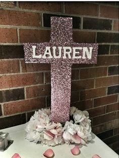 Glitter covered cross for your holiday decorating or religious event. The cross is completely covered in craft pink glitter. Makes a great accent in your event. Any color is available just let me know what your preference is. Christening Centerpieces, Baptism Party Decorations, Communion Centerpieces, Baptism Party Girls, Christening Party, Baby Baptism, Baptism Ideas, First Holy Communion, Baby Shower