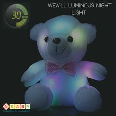 Wewill Luminous Night Light Glow Teddy Bear LED Colorful Stuffed Animals Xmas Birthday Valentines Mother's Day Gift White Material: High quality PP cotton. Power: 2 AA batteries (not included).
