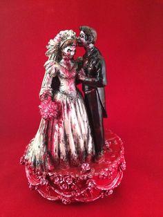 Zombie bruiloft paar muziekdoos taart Topper van zombiARTy op Etsy