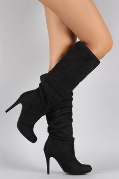 Suede Slouchy Almond Toe Stiletto Knee High Boots