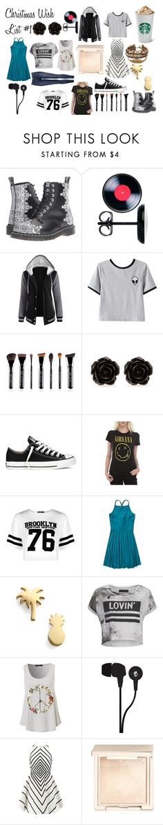 """""""Christmas Wish List #1"""" by savannahortega ❤ liked on Polyvore featuring Dr. Martens, Chicnova Fashion, Erica Lyons, Converse, Hot Topic, Boohoo, Hollister Co., Seoul Little, Religion Clothing and Skullcandy"""