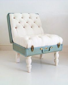 Furniture that's amazing! A white armchair made out of a vintage suitcase.... Wow. i would like it more if it puffed less out of the suitcase, that way you could totally close the lid and use it as a coffee table also :3