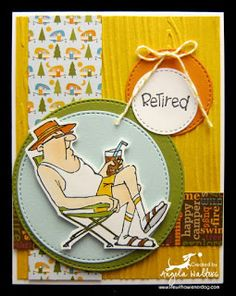 SC0651 Ai His and Hers Campers from Art Impressions. Hampton Arts clear stamp sets available at Michael's Craft Stores. Handmade masculine card.  Retired, Retirement, camping, lawn chair