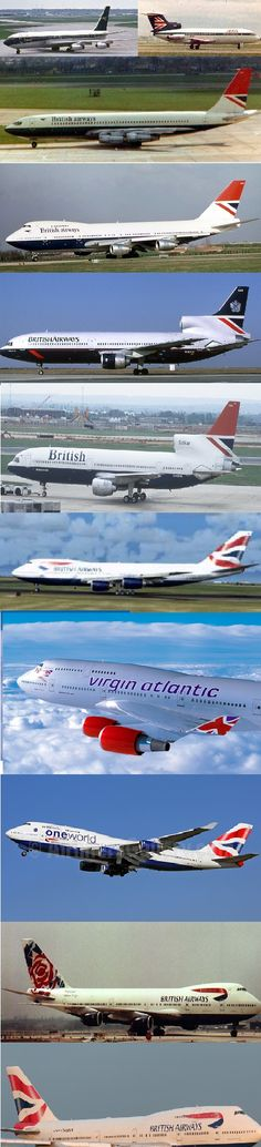 The evolution of B.O.A.C. and B.E.A. (British European Airways.) The two independent Airlines later merge to become: British Airways.