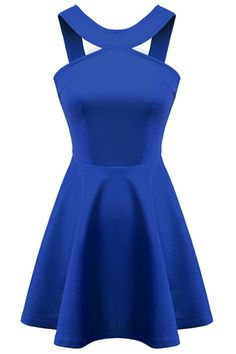 Love this Color! Love this Dress Design! Sapphire Blue Solid Color A-Line Skater Dress