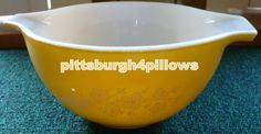 Pyrex - Butterfly Gold Mixing Bowl  - Sheaf Or Bouquet Pattern - 441 - 750 ML -  Good Condition Some Wear - See Description by pittsburgh4pillows on Etsy