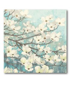 Floral Blue & White Wrapped Canvas Wall Art Home Decor #zulilyfinds