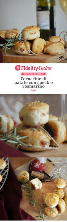 Focaccine di patate con speck e rosmarino I Love Food, Good Food, Yummy Food, Antipasto, Easy Cooking, Cooking Recipes, Italy Food, International Recipes, Creative Food