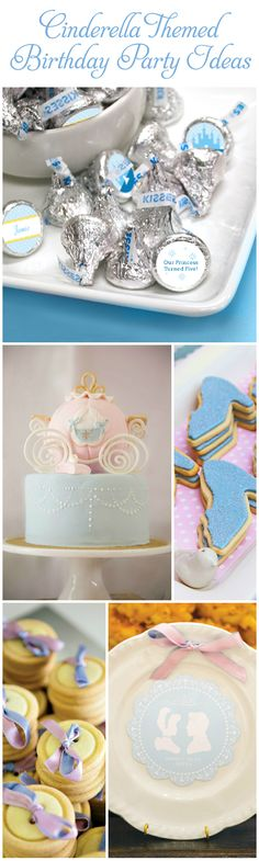 Cinderella Themed Birthday Party Ideas: Carriage Cake, Glass Slipper Cookies, Prince Charming Plate, Button Cookies and Custom Stickers for KISSES Candy