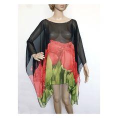 Donna Taglie Forti Con Cintura 3//4 Manica Lunga Stampa Floreale Chiffon Kimono Cardigan Top