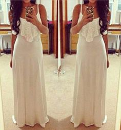 Sexy Lace Patchwork Spaghetti Strap Floor Length Women's Maxi Dress #buytrends #fashion #style #dress