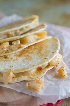Shrimp Scampi Quesadilla Recipe -- love the idea of shrimp scampi in a cheesy tortilla!