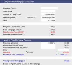 Fha Loan Calculator For Maryland Fha Loans Fha Loan Calculator Mortgage Fees