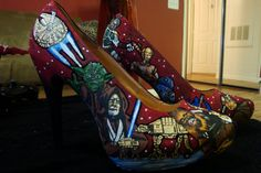 custom painted nerd shoes Custom Painted Shoes, Hand Painted Shoes, Custom Shoes, Nerd Shoes, Dorothy Shoes, Me Too Shoes, Peep Toe, Fashion Accessories, Super Cute