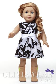 American Girl Clothes Collection #61 Black and White Sparkle Pattern Dress
