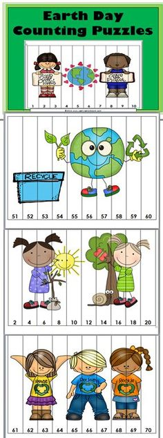 Earth Day Counting Puzzles (Aligned to Common Core)