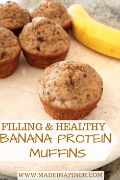 Crazy Good Protein Banana Muffins For Snack or Dessert Banana Greek Yogurt Muffins are full of protein AND flavor! Grab this banana protein muffins recipe Protein Snacks, Banana Protein Muffins, Muffins Blueberry, Healthy Muffins, Protein Cake, Protein Cookies, Morning Glory Muffins, Banana Recipes, Muffin Recipes