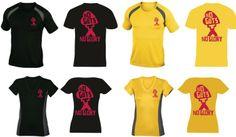 No Guts No Glory hardloopshirts mannenmodel en damesmodel, kleur geel of zwart. €20,00