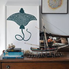 Large Print Manta Ray Poster - teal green. $60.00, via Etsy. by BANQUET