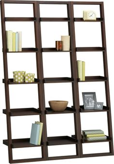 """Sloane Java 18"""" Leaning Bookcase Set of Three  