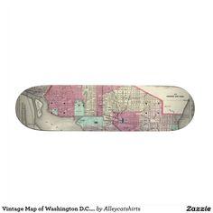Vintage Map of Washington D.C. (1866) Skateboard