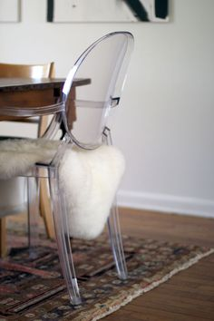 Lucite chair with sheepskin - dressing room
