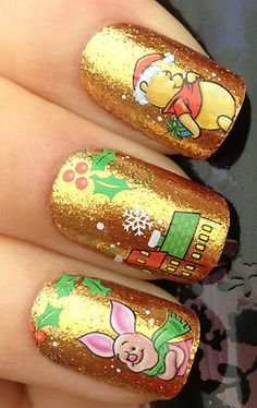 Nail Art Water Decals Transfers Stickers Christmas Winnie The Pooh Piglet 817   eBay