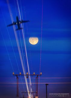 Watching the Full Moon and Planes fly by at Pearson International Airport July 2014 Albion Falls, Wind Turbine, Plane, Landscape Photography, Airplane, Aircraft, Landscape Photos, Planes, Airplanes