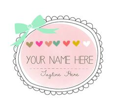 Cute Hand Drawn Logo & Watermark Design - Branding - Small Business - Blog - Boutique - Hearts - Swirls - Bow - Sweet - Pink - Colorful