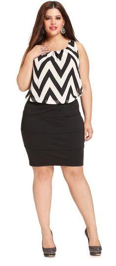 Trixxi Plus Size Dress, Sleeveless Lace Illusion A-Line - Plus ...