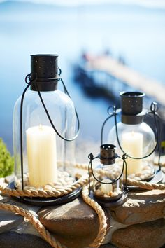Beautiful lake house lanterns. #potterybarn