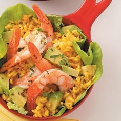 Great Recipes, Healthy Recipes, Shrimp Salad Recipes, Saffron Rice, Romaine Salad, Shrimp And Rice, Gluten Free Dinner, Convenience Food, Seafood Dishes