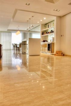 Create the perfect modern setting with a #travertine #floor cover, gypsum ceiling and stainless #steel fixtures.