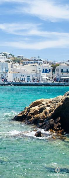Mykonos Chora, a picturesque town with whitewashed traditional buildings by the sea