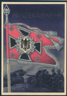 Gottfreid Klein Propaganda  postcard Flags/standards of the Wehrmacht, PAK/Anti-tank troops.