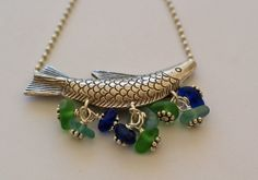 Mixed Color Sea Glass and Fish Necklace, $160.00