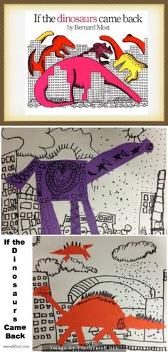 Kids LOVE dinosaurs. Here's a project based on the book If the Dinosaurs Came Back by Bernard Most. | We read the book, noting the many rectangular buildings and windows. It was an opportunity to practice all the lines we have learned. We could see wavy, zig zag, diagonal, vertical, horizontal, dotted and dashed lines. Day 2 we added the dinosaurs. 2 rules: the dinosaur had to be as big as a hand, and one color. The kids created the collage, then added details (lines, shapes and patterns).