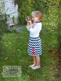 Blue Chevron Anchor Skirt - Hurricane Sandy Relief - Sizes 2T, 3, 4, 5, 6, 7