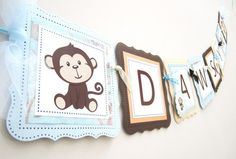 Personalized Monkey Party Banner Decoration | adorebynat - Seasonal on ArtFire