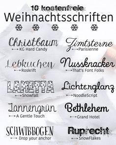 10 kostenfreie Weihnachtsschriften | schöne Weihnachtsschrift | waseigenes.com