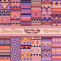 Motif géométrique de couleur Rise aztèque patrons papier pack, Ikat… Indian Patterns, Tribal Patterns, Print Patterns, Vector Pattern, Pattern Design, Motifs Aztèques, Printable Scrapbook Paper, Black Art, Native Indian
